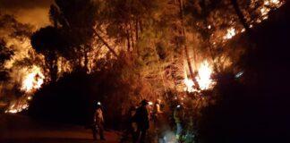 Más de 200 efectivos trabajan en el control del incendio de Sierra Bermeja